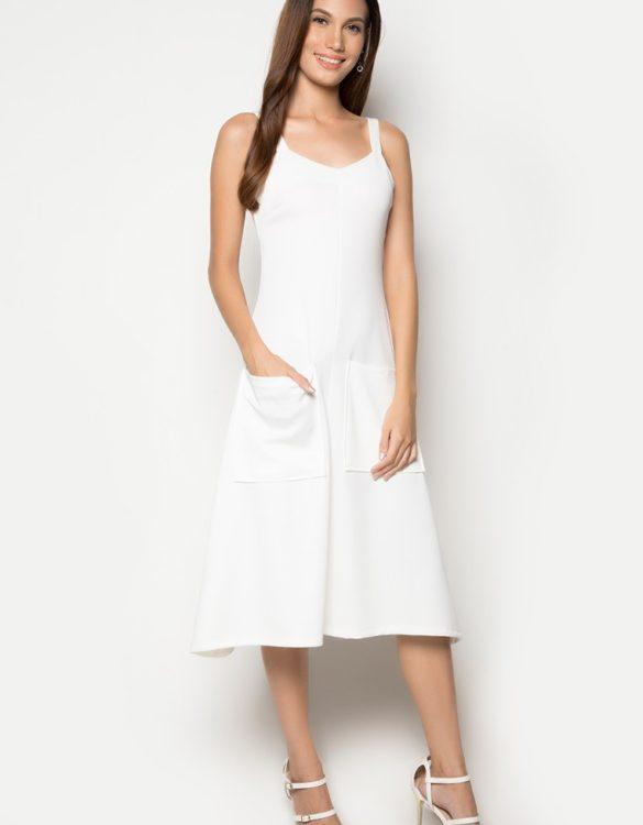 Iris Pocket Dress White 1